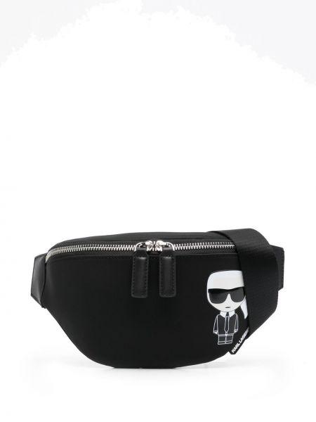 Czarny pasek skórzany z paskiem Karl Lagerfeld