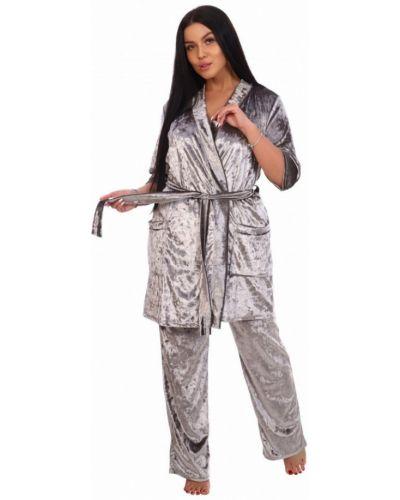 Костюмный серый бархатный костюм инсантрик