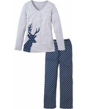 Пижама в горошек с длинными рукавами Bonprix