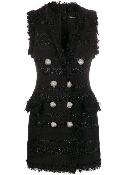 Приталенное платье с V-образным вырезом без рукавов для офиса Balmain