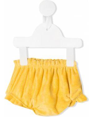 Хлопковые желтые шорты с поясом с оборками Emile Et Ida