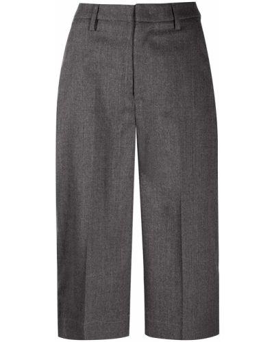 Шерстяные серые брюки на пуговицах с высокой посадкой Dondup