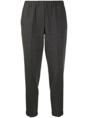 Шерстяные серые укороченные брюки эластичные Antonelli
