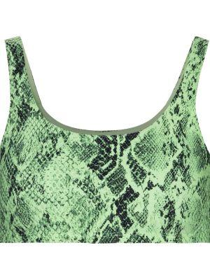 Zielony biustonosz sportowy z nylonu z printem Alo Yoga