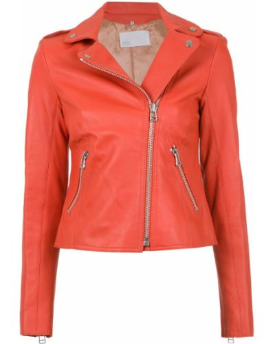 Красная кожаная длинная куртка байкерская Nk