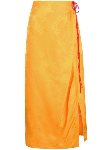 Шелковая юбка макси - желтая Rosie Assoulin