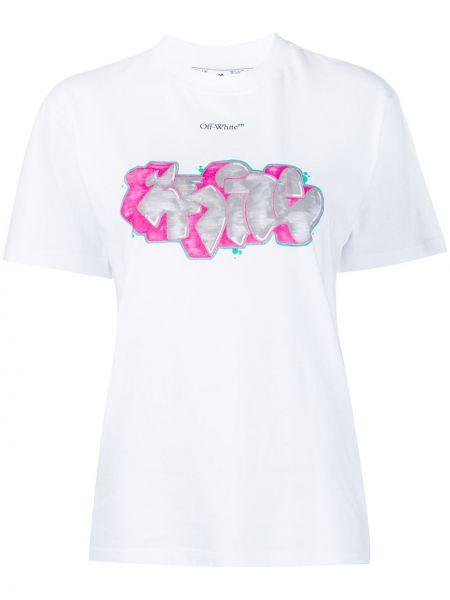 Biały bawełna koszula z krótkim rękawem okrągły dekolt krótkie rękawy Off-white