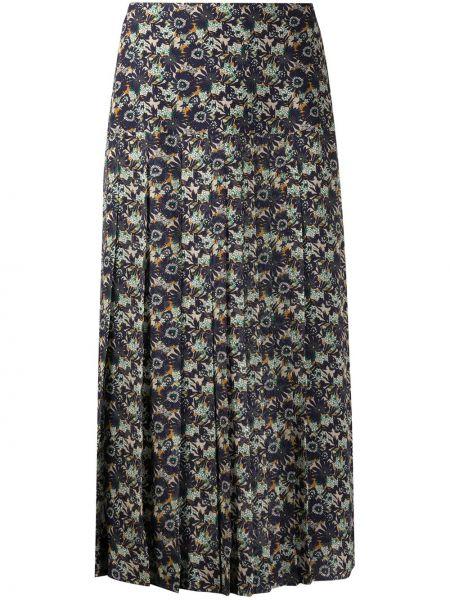Шелковая синяя с завышенной талией плиссированная юбка с подкладкой Victoria Beckham