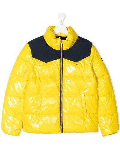 Желтое стеганое длинное пальто с воротником Tommy Hilfiger Junior