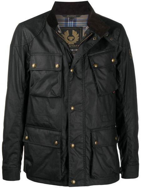 С рукавами черная длинная куртка с подкладкой Belstaff