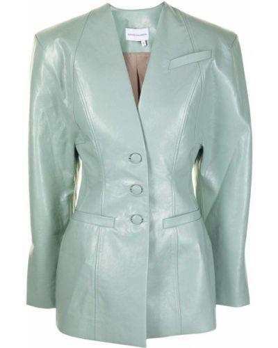 Зеленый кожаный удлиненный пиджак с карманами Aleksandre Akhalkatsishvili