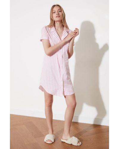 Różowa koszula nocna bawełniana w paski Trendyol