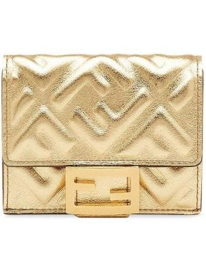 Желтый кожаный кошелек с карманами Fendi