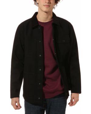 Хлопковая черная куртка с нашивками Vans