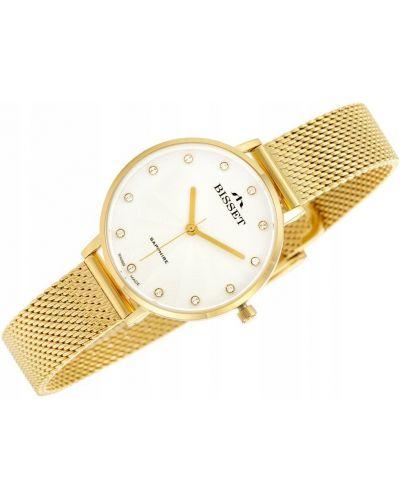 Klasyczny złoty zegarek z siateczką Bisset