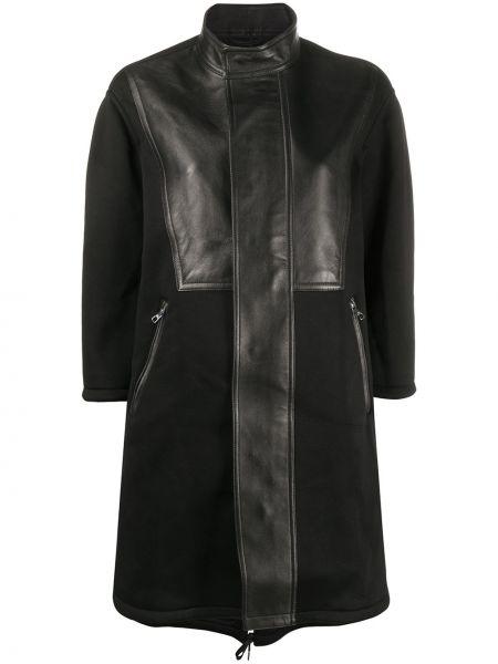 Черное кожаное пальто с капюшоном Neil Barrett