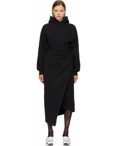 Платье макси с длинными рукавами - черное Balenciaga