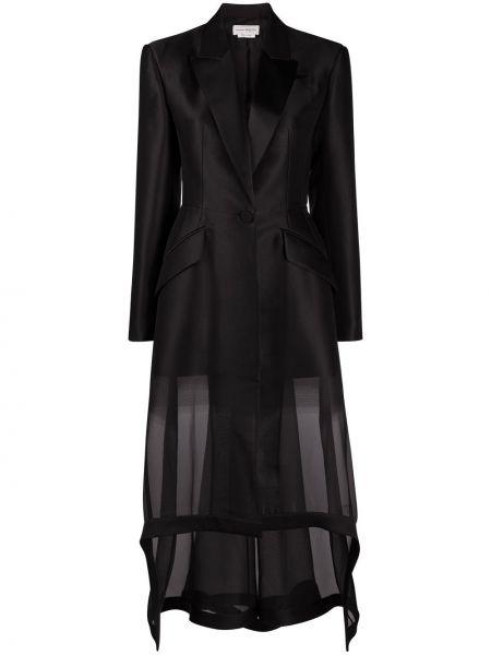 С рукавами шелковый черный удлиненный пиджак Alexander Mcqueen