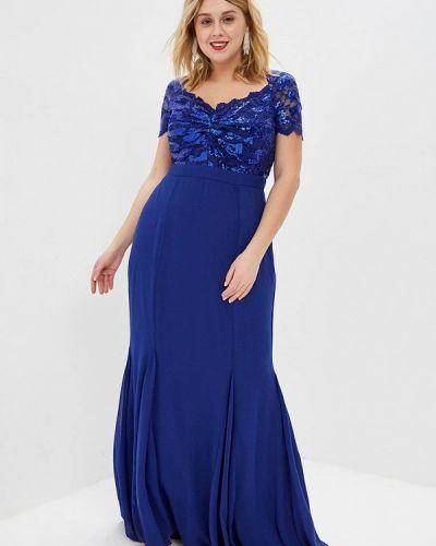 Вечернее платье синее Goddiva Size Plus