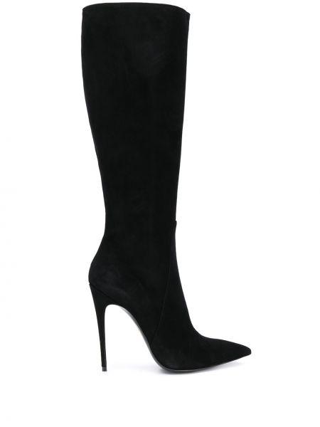 Черные сапоги на высоком каблуке на молнии Maison Ernest