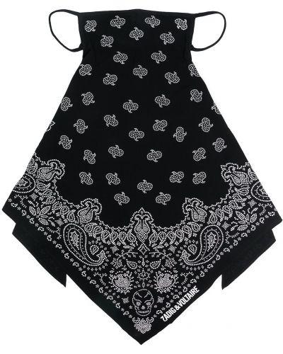 Czarna bandana bawełniana z printem Zadig&voltaire