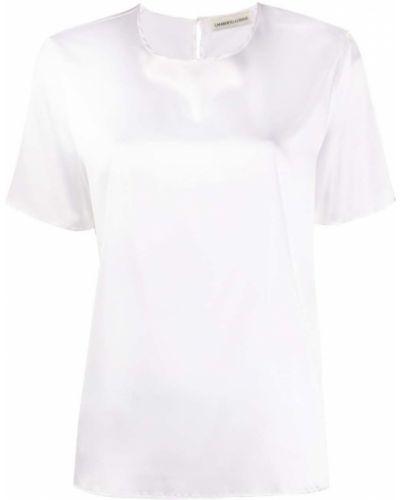 Шелковая белая прямая футболка с круглым вырезом Lamberto Losani