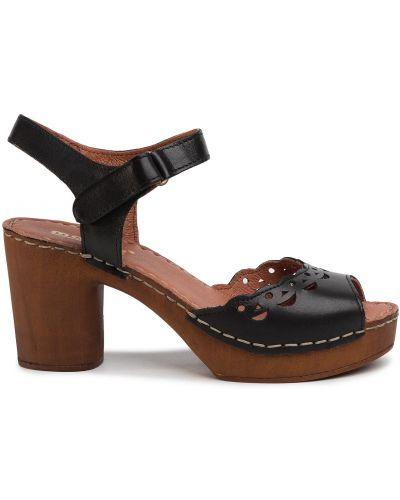 Босоножки на каблуке - черные Manitu