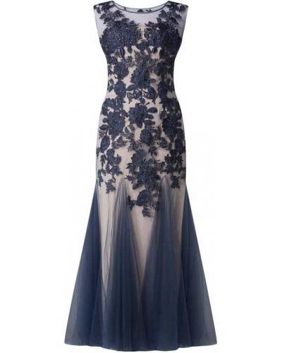Niebieska sukienka wieczorowa z cekinami tiulowa Mascara
