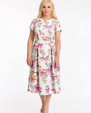 Платье с поясом с V-образным вырезом со складками Merlis