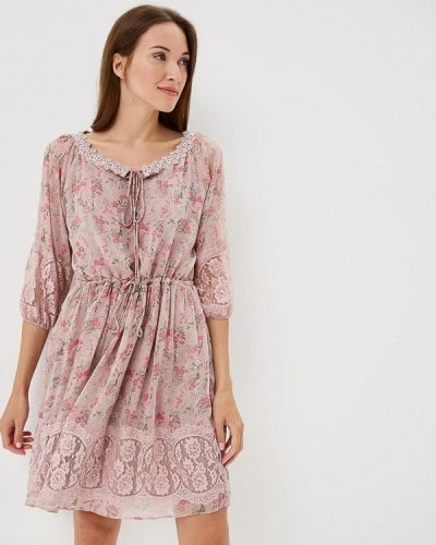 Розовое платье с длинными рукавами Lusio