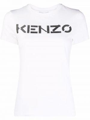 Белая прямая футболка с короткими рукавами с вырезом Kenzo