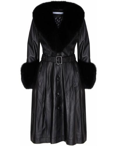 Кожаное пальто расклешенное из лисы Saks Potts
