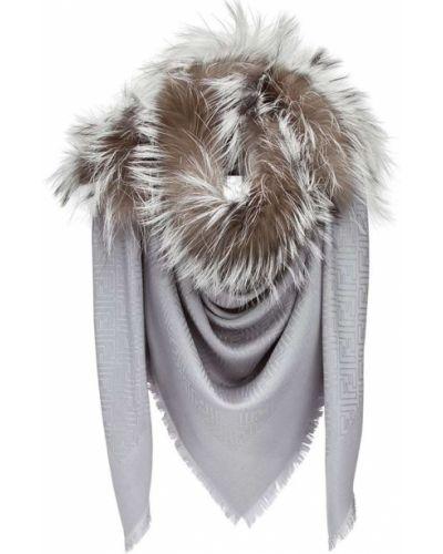 Серый шарф с мехом Fendi