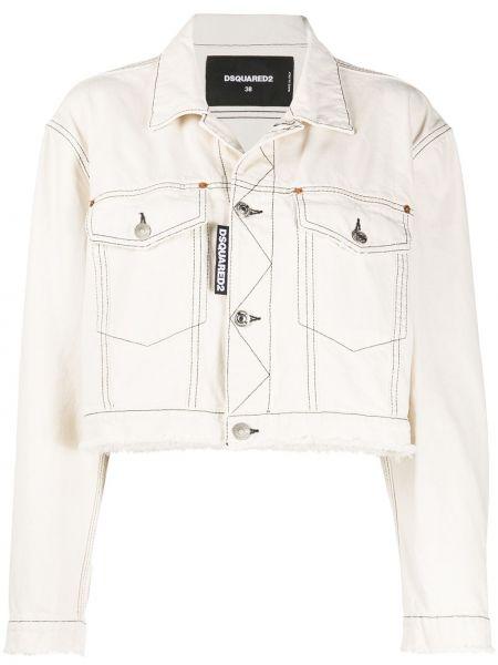 С рукавами белая джинсовая куртка с воротником Dsquared2