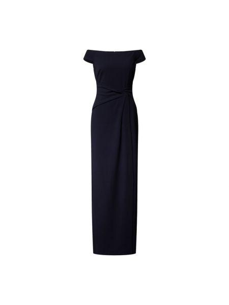 Niebieska sukienka wieczorowa z odkrytymi ramionami Lauren Ralph Lauren