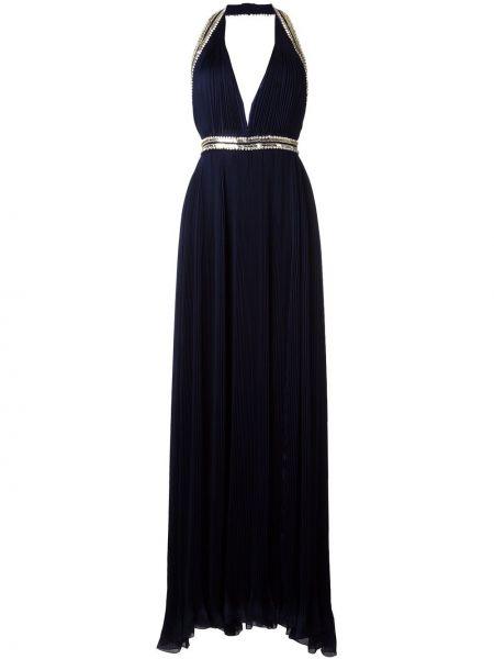 Плиссированное синее шелковое платье Roberto Cavalli