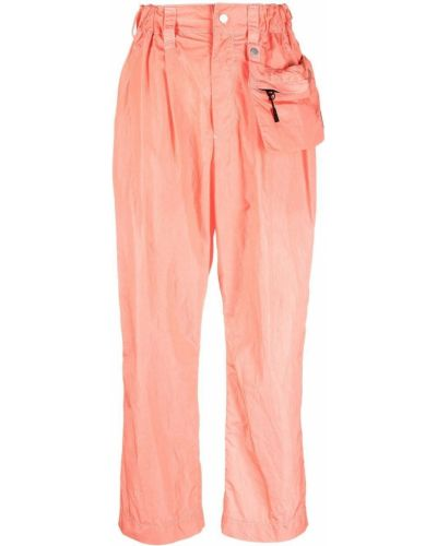 Pomarańczowe spodnie skorzane z paskiem Issey Miyake