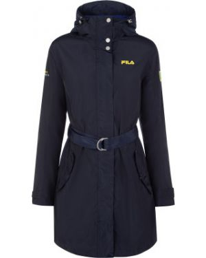 Прямая синяя куртка с капюшоном мембранная на молнии Fila