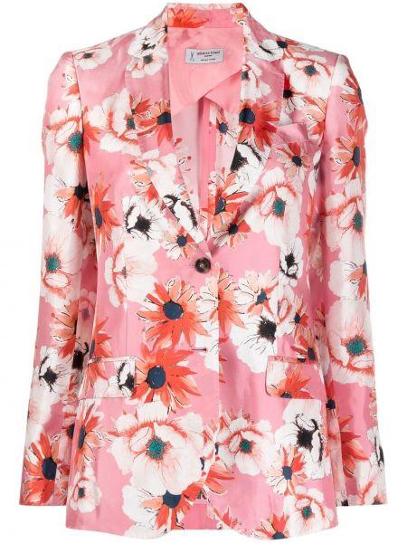 Шелковый розовый удлиненный пиджак с карманами Alberto Biani