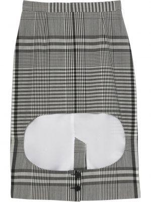 Шерстяная черная юбка на молнии с вырезом Burberry