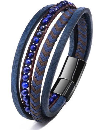 Синий кожаный браслет с камнями Blackpink