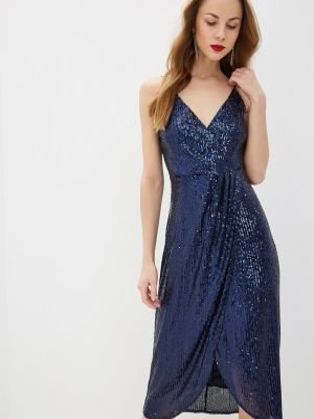 Вечернее платье осеннее синее Adl