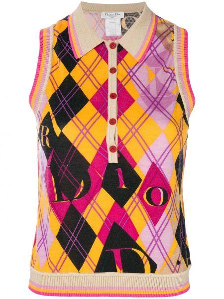 Prążkowana różowa kamizelka wełniana Christian Dior Pre-owned