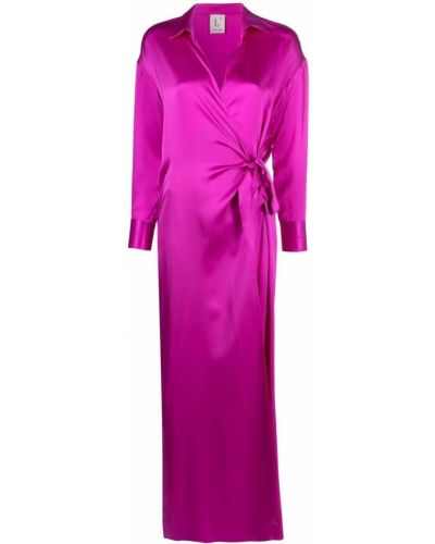 Расклешенное фиолетовое шелковое платье миди Lautre Chose