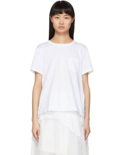 Хлопковая с рукавами белая рубашка Sacai