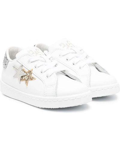 Кожаные белые кроссовки круглые с круглым носом 2 Star Kids