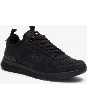 Теплые текстильные черные кроссовки Lacoste