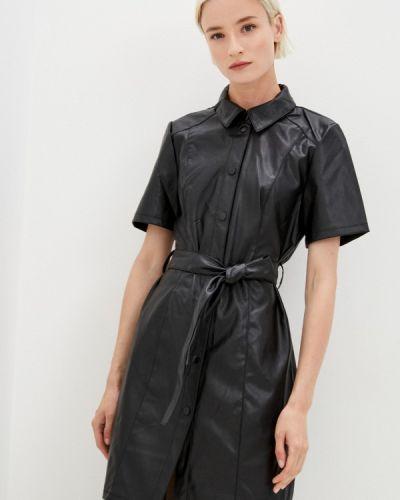 Черное кожаное платье Jacqueline De Yong