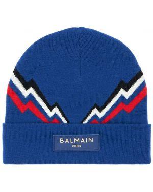 Niebieski czapka beanie skórzany z printem Puma X Balmain