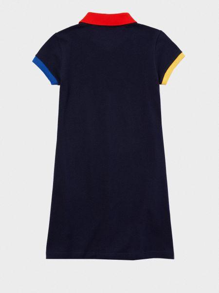 Синее прямое платье с вышивкой на пуговицах Lacoste